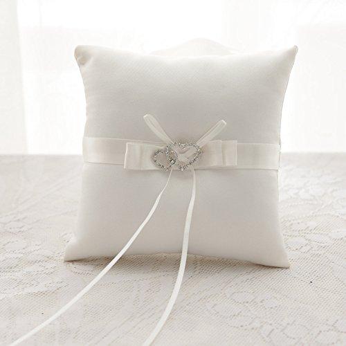 ZHANG33 Hochzeit Ring Kissen/Satin Netz Stickerei/Classic Thema/Mit Bändern/Schmetterling Knoten (Schärpe Stickerei)