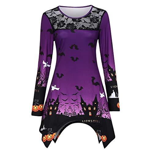 KPPONG Halloween Kostüm Damen Spukhaus Fledermaus Muster Pullover Spitze Sweatshirt Unregelmäßiger Saum Pulli - Saloon Girl Kostüm Muster