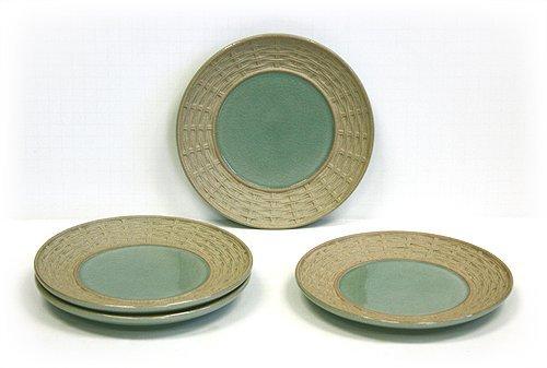 4 Piece Green Siam Celadon Dessert & Snack Plates by Hues & Brews by Hues & Brews Celadon Dessert