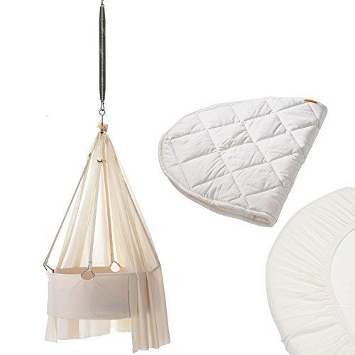 Preisvergleich Produktbild Leander Wiege Komplett-Set mit Schlummerli-Feder, Himmel, Matratzenauflage, 2er-Pack Spannbettaken