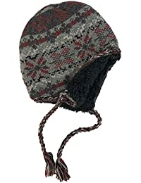 b5a3b5cf5d659 Mens Gray Red Snowflake Peruvian Style Wool Blend Trapper Hat Sherpa Lined