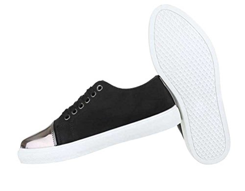 Damen Sneakers Schuhe Freizeitschuhe Turnschuhe Schwarz Schwarz
