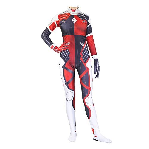 QWEASZER Klassische Red Clown Overall Kostüm Frauen Kostüm Spandex Zentai Onesie Kleidung Halloween Cosplay Party Bodysuit Film Onesies,Clown-Custom Size (Custom Clown Kostüm)
