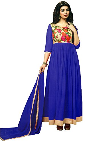 Exotic India Anarkali Suit with Printed Flowers and Solid Ghagra - Color Royal BlueGarment Size 38