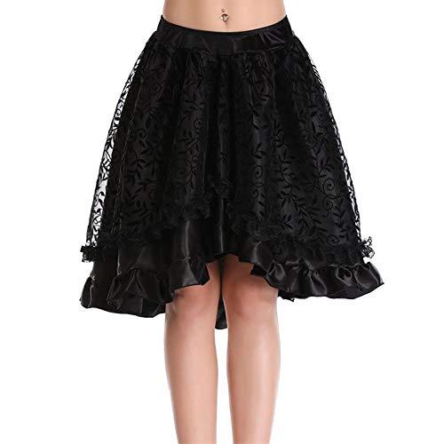 Zu Cool Kostüm Leicht Machen - Damen Gothic Spitzenkleid,High Waist Punkrock Steampunk Rock Irregulär Kleid Cosplay Kostüm Partykleid