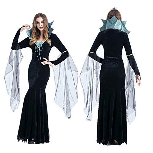 carol -1 Böse Königin Lange Cosplay Kleid Lange Vampir Halloween und Abendkleid Schwarz Hexen-Kostüm für Damen Erwachsener Hexenkleid Hexen Kostüm-Set Cosplay Karneval