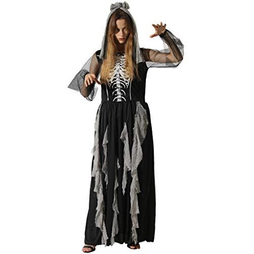 EraSpooky Damen Skelett Kostüm Sexy Cosplay Kleid Halloween Party Karneval Fastnacht Faschingskostüme für Erwachsene
