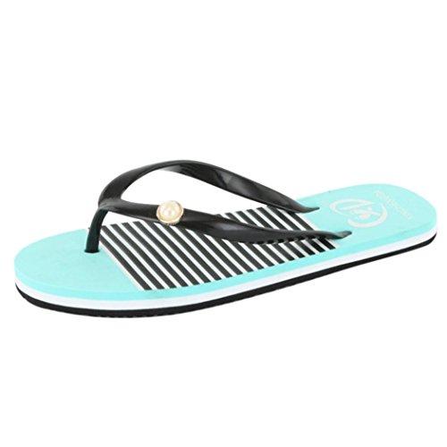 Promotionen UFACE Flipflops der Frauen Rutschfeste Flache Strandschuhe Sommer Sandalen Hausschuhe Freizeit Weichen Flip Flops Strand Slipper (38, Grün)