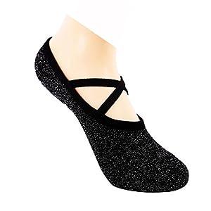Maybesky Yoga Socken Silber Ballett Skid Slip Sommer dünne Armlehnen für Frauen Pilates, Anti-Rutsch-Slip-Socken