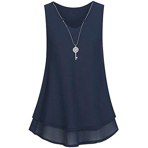 Sanfashion bekleidung - camicia - con bottoni - tinta unita - a punta tonda - donna marine xxl