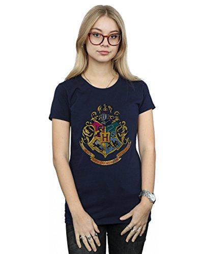 Harry Potter Mujer Hogwarts Distressed Crest Camiseta X-Large Armada