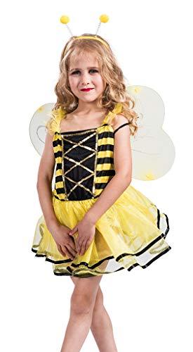 MOMBEBE COSLAND Mädchen Biene Kostüm 3 Stück Set (Gelb, S) (Kinder Biene Kostüm)