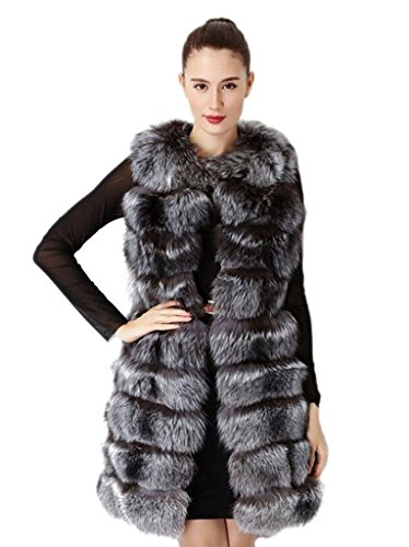 YR Lover Damen Winter Echter Fuchs Pelz Ganze Haut Weste Gilet Mantel Silver Fox Natural