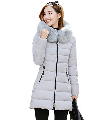 NiSeng Mujer Abrigo Chaqueta Slim Fit Espesar Pelaje Collar Parka Con Capucha Manga Larga Chaquetas Outerwear Gris M
