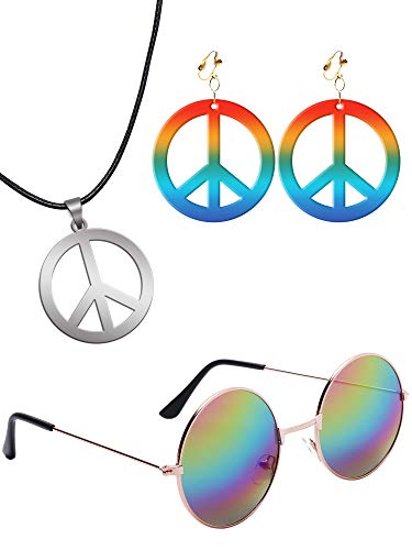 Hippie Set with Round Shades, Peace Sign Necklace and Rainbow CND Earrings