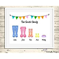 Personalised Wellington Boots Family Watercolour Premium Print Picture A5, A4 & Framed Options, Welly Art - Design 4