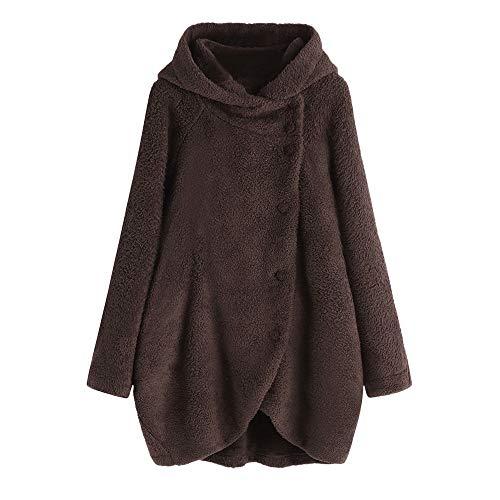 Damen Winter Plüschjacke MYMYG Warm Winterjacke Steppjacke Outwear Cardigan Langarm Teddy-Fleece Parka Kapuzenjacke Trench Coat(BraunEU:38/CN-L)