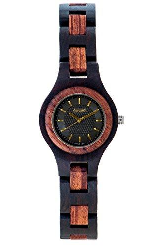 TENSE//Die Holzuhr - Womens Pacific made in Canada Black Oak//Karriholz - schwarz/braun - Damen-Uhr - Holz-Uhr L7509DR-BG