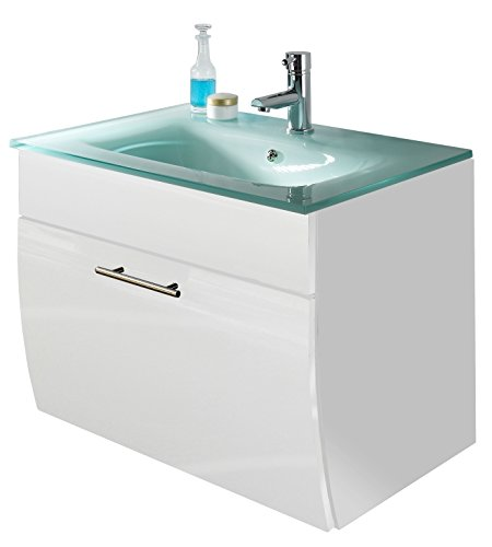 Waschplatz Salona mit Klappe, Schubkasten und Glasbecken Farbe: Weiß