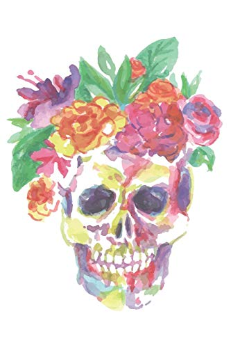 Journal: Watercolor Skull with Flowers Notebook | 6 x 9 In, 120 Pages (Watercolor Spirit Animals, Band 19)