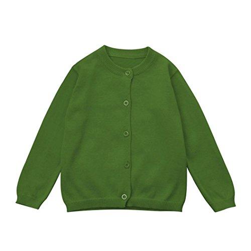 LCLrute Neue Kleinkind Kid Jungen Mädchen Kleidung Gestrickte Bunte Solide Pullover Strickjacke Mantel Tops (6M, Grün)