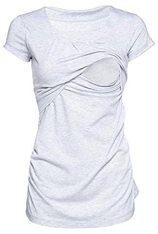 Happy Mama. Damen Umstands Still T-shirt Lagendesign. Rundhalsausschnitt. 136p (Lichtgrau Melange, EU 42/44, XL)