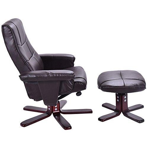 TV-Sessel mit Hocker Fernsehsessel Relaxsessel drehbar kippbar PU+PVC braun
