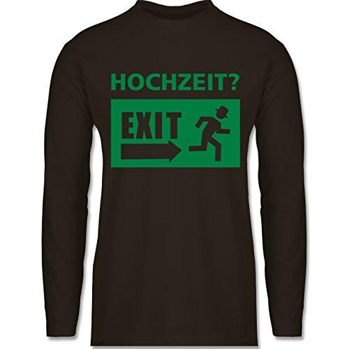 JGA Junggesellenabschied - Hochzeit Exit - Longsleeve / langärmeliges T-Shirt für Herren Braun