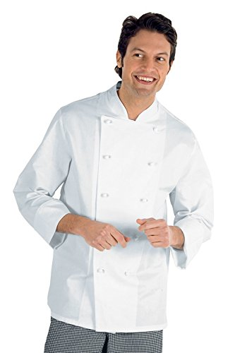 Isacco Giacca Cuoco Classica - Isacco Bianco, Bianco, XL, 100% Cotone, Manica Lunga, Bottoni antipanico - Tessuto 190 gr/m²