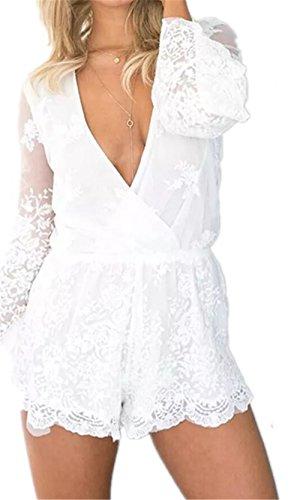 JOTHIN 2017 Nouvelle l'automne Femmes Mode Sexy Col V Profond Gaze Manches Longues Pantalon Pièce de Couleur Unie Pantalons Décontractés Shorts Blanc