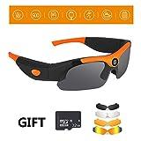 Kuan-Cycling glasses Gafas de Sol Deportivas para Montar al Aire Libre Gafas de 120 ° Gran Angular Gafas polarizadas 1080p HD Video Gafas Deportivas compatibles con Tarjeta de Memoria de 32GB,Orange