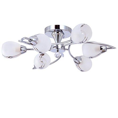 Design Deckenleuchte Deckenlampe 6994-6S Glas Kristallglas Chrom 6-flammig