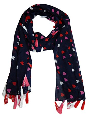 BOLLYWOOD ACCESSORY BA40248 Polyester Heart Printed Scarf Stole Shawl Duppata