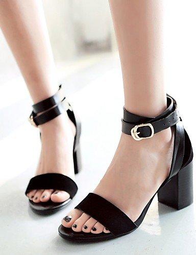 LFNLYX Chaussures Femme-Mariage / Bureau & Travail / Habillé / Décontracté / Soirée & Evénement-Noir / Marron-Gros Talon-Talons / Bout Ouvert / Black