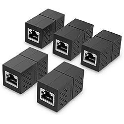UGREEN Lot de 5 Cat 7 Coupleur RJ45 Ethernet Connecteur Réseau Adaptateur Femelle à Femelle Blindé 8P8C (Noir)