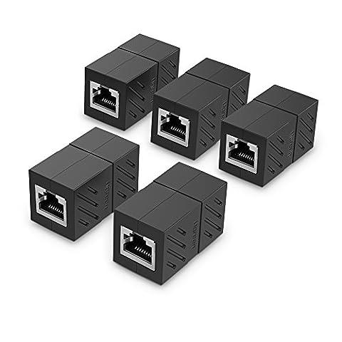 UGREEN Connecteur Ethernet, Lot de 5 Cat 7,6,5 Conencteur Ethernet Réseau RJ45 8P8C Femelle à Femelle (Noir)