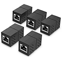 UGREEN Adaptador RJ45 para cable de Red Ethernet Cat6 RJ45 Acoplador gigabit hembra a hembra (5 Pack, Negro)