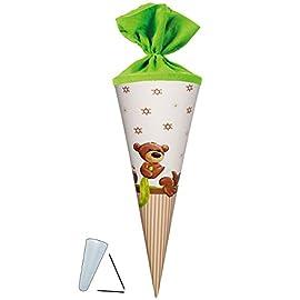 Kinderland-Schultte-Kleiner-Teddybr-35-cm-mit-Filzabschlu-mit-ohne-Kunststoff-Spitze-Zuckertte-fr-Mdchen-Jungen-Glcksbringer-Alles-Gute-Teddy-B