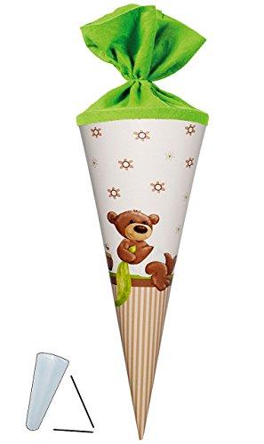 """Schultüte – """" kleiner Teddybär / Honigbär """" 35 cm – mit Filzabschluß – mit / ohne Kunststoff Spitze – Zuckertüte – für Mädchen Jungen – Glücksbringer Alles Gute Teddy Bär – Geburt / Baby Geschenktüte – Taufe"""