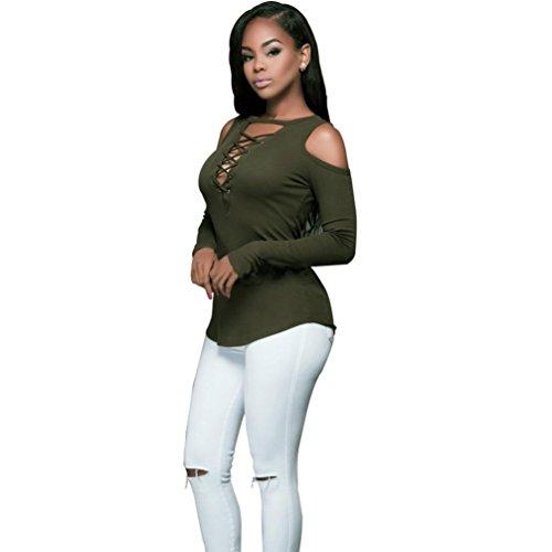 Sexy Femmes Tops, OverDose à Manches Longues Camouflage Blouse T-Shirt Décontracté Vert