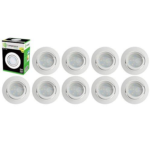 Lot de 10 Spot Led Encastrable Complete Blanc Orientable lumière Blanc Chaud eq. 50W ref.193