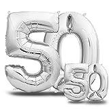Luftballons 50. Geburtstag XXL Silber - Riesen Folienballon in 2 Größen 40' & 16' | 101cm + 40cm...