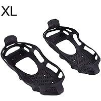 Dilwe Tracción para Calzado 1 Par de Tacos Antideslizantes Ligeros con Bolsa de Almacenamiento Invierno Escalada Caminar Trotar Senderismo (XL)