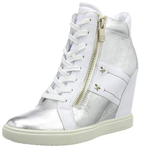 Tommy Hilfiger Damen Tommy Wedge Sneaker, Weiß (White 100), 38 EU Weiße Wedge Sneakers