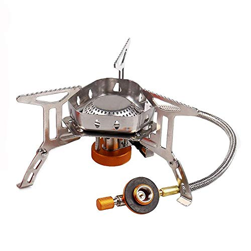 Red April Mini Portable Camping Gas Stove,Outdoor Camping Windproof Stove,Stainless Steel Mountaineering Gas Stove,Picnic Stove BBQ Stove with Piezo Ignition Outdoor Cooker Burner. - Grill-gas-portable Bbq