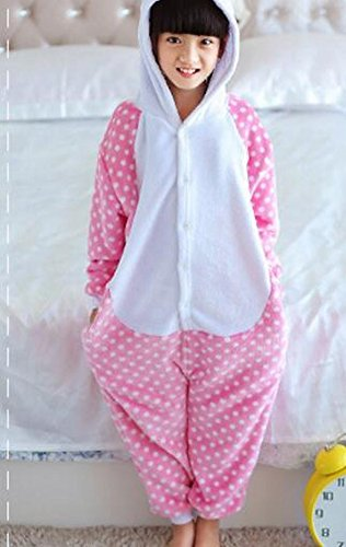 CWJ Pyjamas-Kids Cartoon Flanell Tier Neuheit Kostüme Cosplay Pyjamas Rollenspiel Halloween Play Kleidung,Tupfen Katze,XL