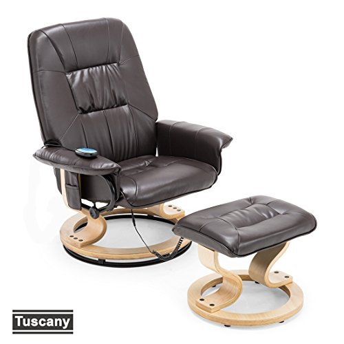 Beautiful More4Homes TUSCANY BONDED LEATHER SWIVEL RECLINER MASSAGE CHAIR W FOOT  STOOL ARMCHAIR 8 MOTOR MASSAGE UNIT BUILT IN (Brown)