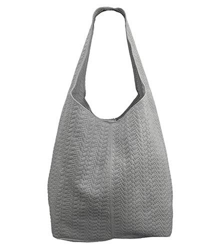 Freyday Damen Ledertasche Shopper Wildleder Handtasche Schultertasche Beuteltasche Metallic look (Grau Geflochten)