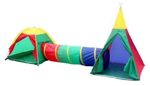 Charles Bentley Children's 3 In 1 Adventure Indoor & Outdoor Igloo Tepee Play Tent Kids Set Age 3+ Years