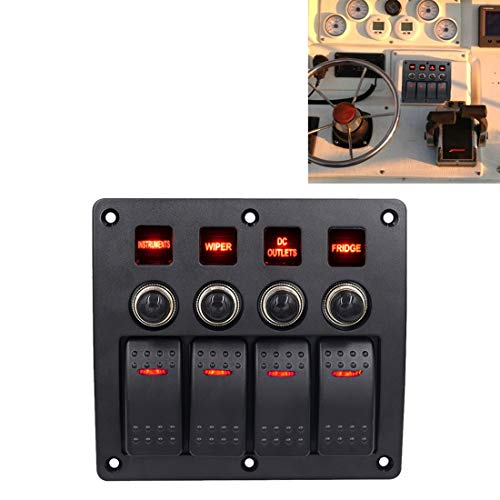 GUOLIANG Kfz-Ersatzteile Kfz-Schalter 4-Wege-Schalter Kombination Switch Panel mit Licht und Projektor-Objektivs, for Auto-RV-Marineboot
